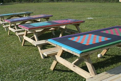 Playeat Boardgame Picknic update your playground picnic tables with a chess board design so students can play checkers or