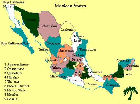 map of the states of mexico mexican states