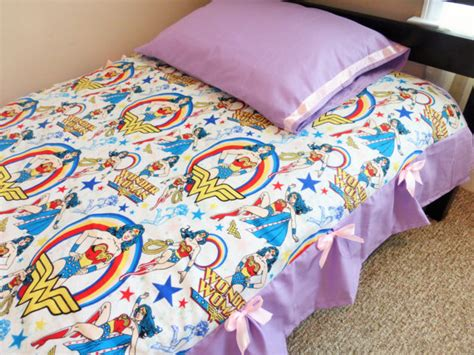 wonder woman comforter twin sheet and pillowcase set made from super girl fabric