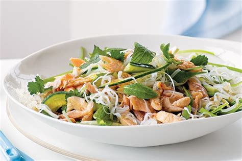 rice noodle salad rice noodle salad with smoked trout recipe taste au