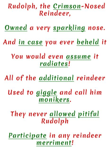 Rudolph The Nosed Reindeer Lyrics Like A Light Bulb by Rudolph The Nosed Mad Libs Activity Education