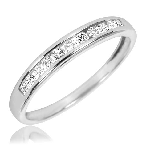 1 5 carat t w wedding band 10k white gold