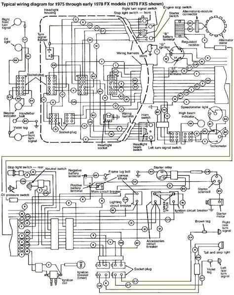 harley davidson wiring diagram 1975 1978 harley davidson fx fxe wiring diagram