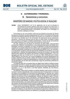 ministerio formacion sanitaria especializada calam 233 o convocatoria de pruebas selectivas 2011 a plazas