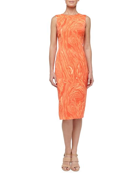 persimmon color dress michael kors marble print charmeuse sheath dress persimmon