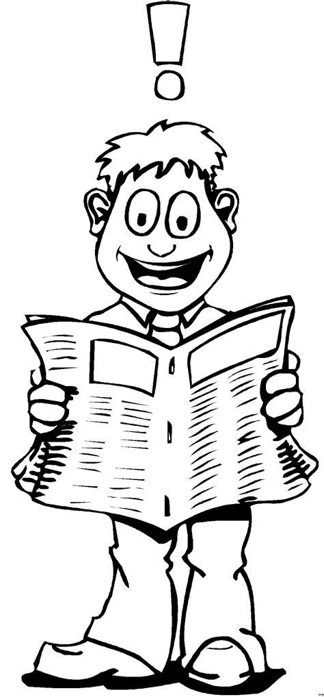 mann liest zeitung ausmalbild malvorlage comics