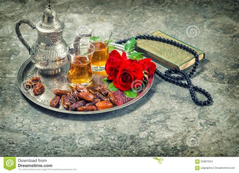 Islam Kar tea and flower holy book quran and rosary ramadan kar stock photo image 55987054