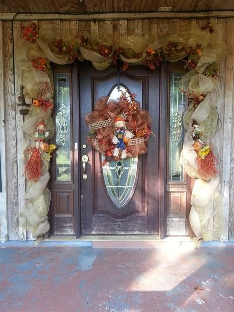 Ideas For The Front Door Fall Deco Mesh Door Garland Front Door Garland