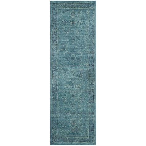 rug runners 2 x 14 safavieh vintage turquoise multi 2 ft 2 in x 14 ft runner vtg117 2220 214 the home depot