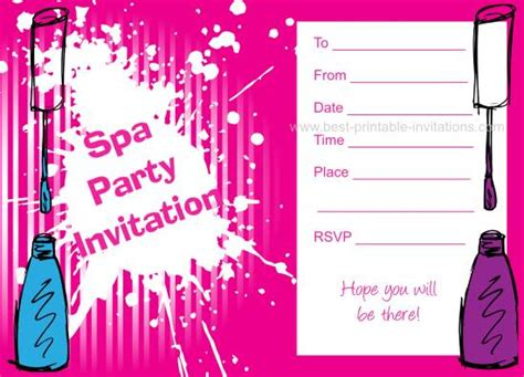 spa invitations templates free spa birthday invitations