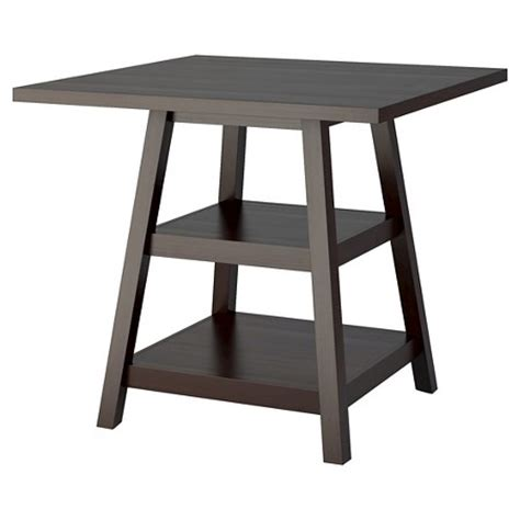 bistro 36 quot counter height dining table with shelves wood