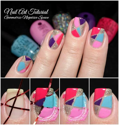 nail art tutorial using tape easy nail art tutorial for beginners geometric negative