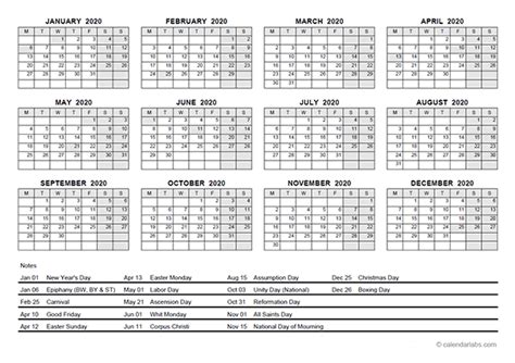yearly calendar  germany holidays  printable templates