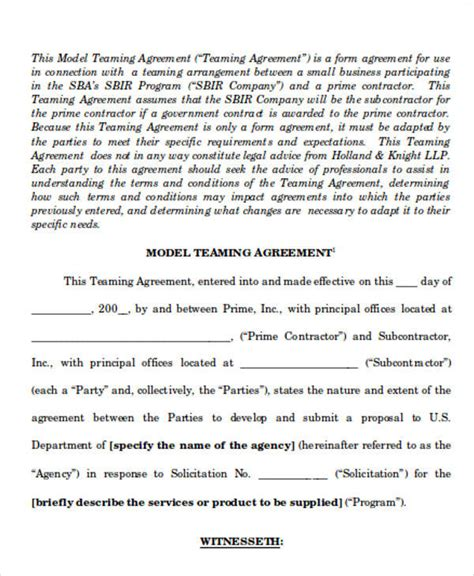 teaming agreement template 60 sle agreements in word
