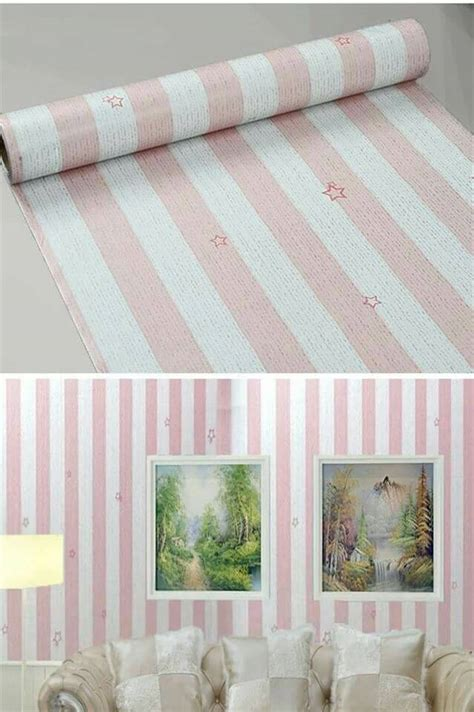 Walpaper Sticker Dinding Garis Pink Putih 1 jual wallpaper sticker 10m garis pink putih bintang ike rz wall sticker