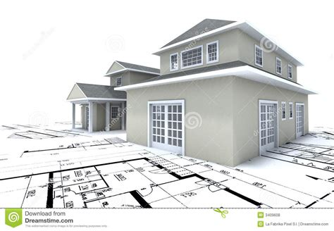 blueprints houses expensive house on blueprints stock illustration