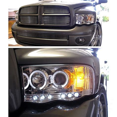 2002 dodge ram led headlights 2002 2005 dodge ram 1500 2500 3500 chrome housing led halo