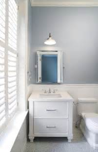 Slate blue bathroom wall paint color white penny tile floor jpg
