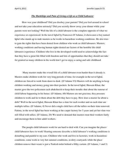 Child Labor Essay by S Child Labour Essay
