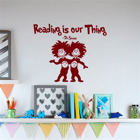 Dr Seuss Wall reading is our thing dr seuss vinyl wall decals quotes for