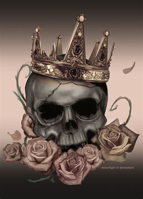 skull with crown tattoo designs skull desaturated by holyelfgirl deviantart on
