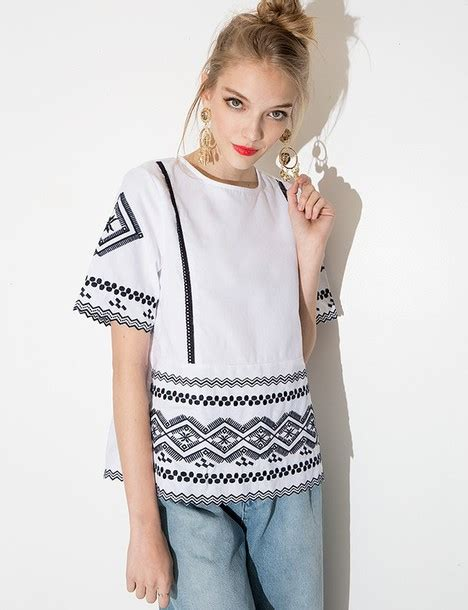 Blouse Ootd blouse embroidered top summer top top ootd pixiemarket white top embroidered
