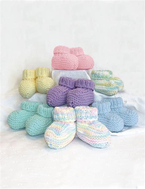 knit baby socks pattern easy knit baby booties free pattern yarnspirations kids