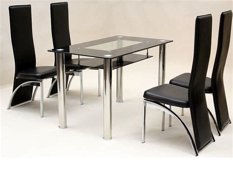 small glass table and chairs uk small glass dining table and 4 faux chairs in black