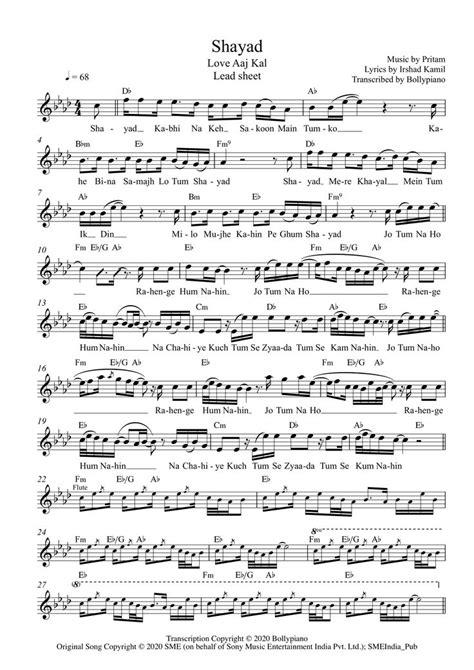 Shayad Flute / Violin Notes | Love Aaj Kal | Bollypiano in