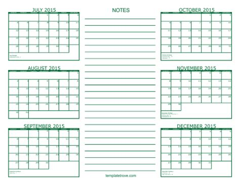 Printable 6 Month Planner 2015 | 5 best images of july 2015 printable calendar 6 months