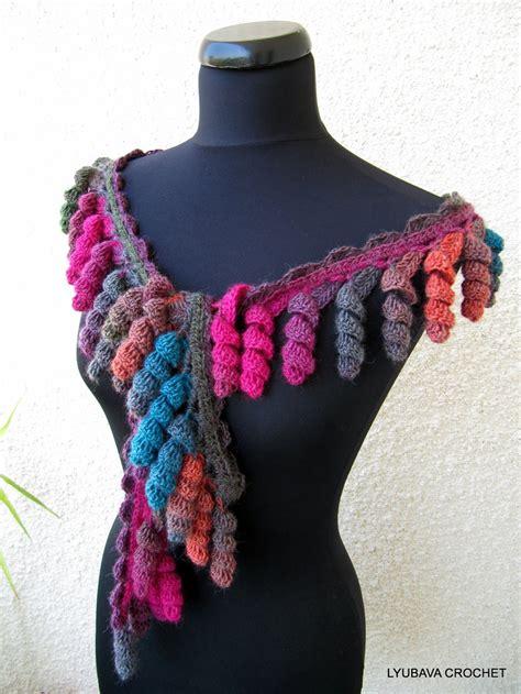 crochet pattern scarf lariat curly tassels women s crochet crafts diy gift unique scarf instant