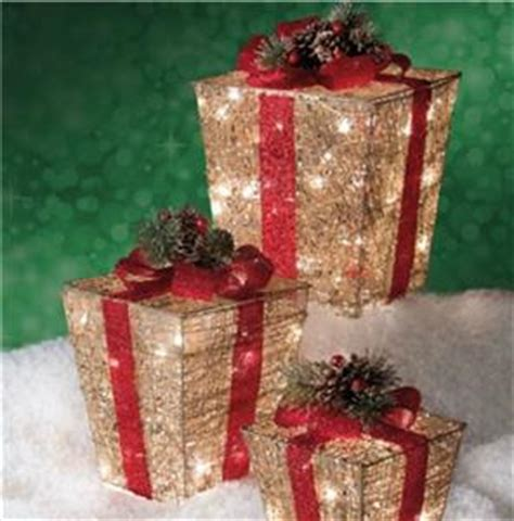 set of 3 lit gift boxes set of 3 pre lit lighted gold gift boxes presents outdoor yard decor ebay