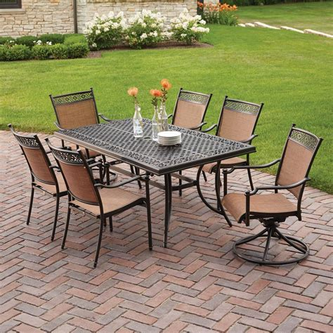 hton bay niles park 7 piece sling patio dining set s7
