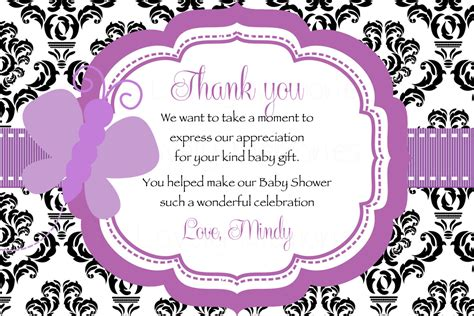 Baby Shower Thank You Wording by Damask Purple Butterfly Baby Shower Thank You Card Printable
