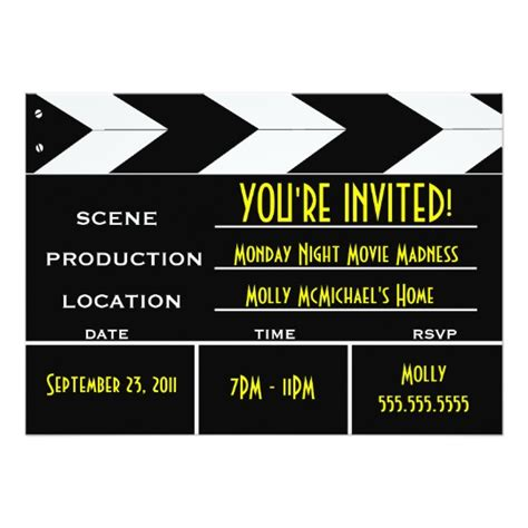clapperboard business card template clapper board custom invitation zazzle