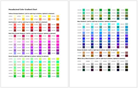 general color chart   printable charts  word