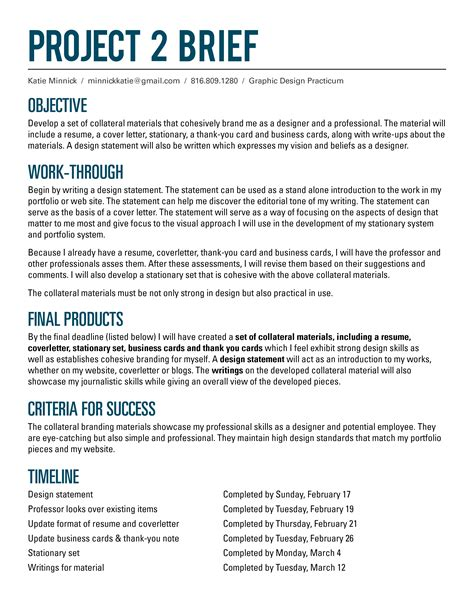how to write a project brief template project 2 e minnick
