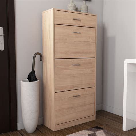 shoe cabinet with drawer oak effect shoe cabinet shoe rack with 4 drawer storage