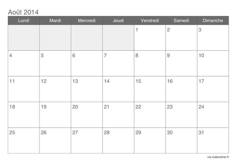 Calendrier Aout Calendrier Ao 251 T 2014 224 Imprimer Icalendrier