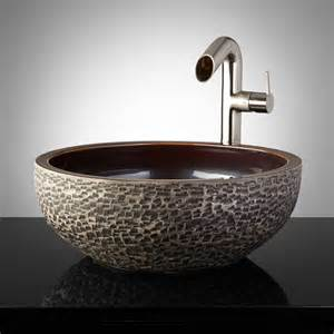 pottery bathroom sinks flores glazed pottery vessel sink charcoal gray