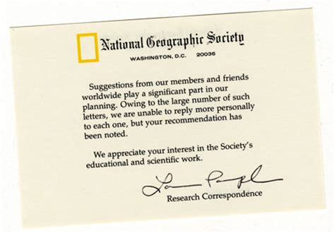Geographic Research Letter Letters Dear National Geographic