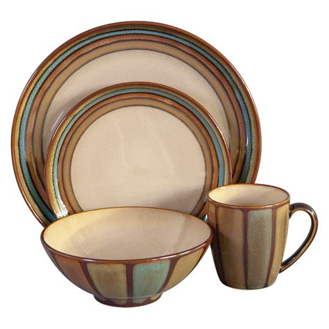 sango flair dinnerware brown set of 16 dinnerware