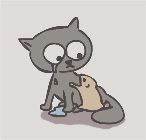sad cat by hamster and cat on deviantart