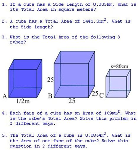 total area freemathtutoring total area of a cube exercises part of the official doug simms site