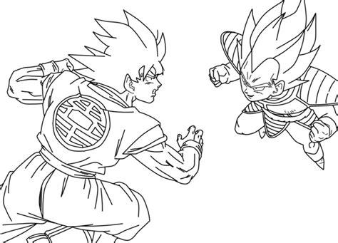 imagenes para colorear vegeta dibujo de goku kakarotto peleando contra vegeta para