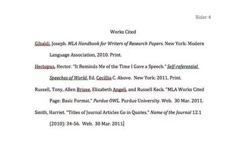 for a mla works cited page do you leave a space between