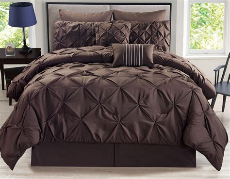 pinched comforter set 8 piece rochelle pinched pleat coffee comforter set