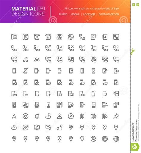 material design icon navigation material design communication and navigation icons set