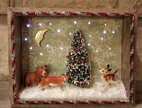 antique looking christmas lights vintage christmas shadowbox with lights createncraft