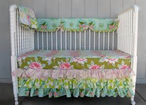 Baby Bedding Vintage Style Shabby Chic Vintage Inspired 3 Tiered Skirt Bumperless Crib